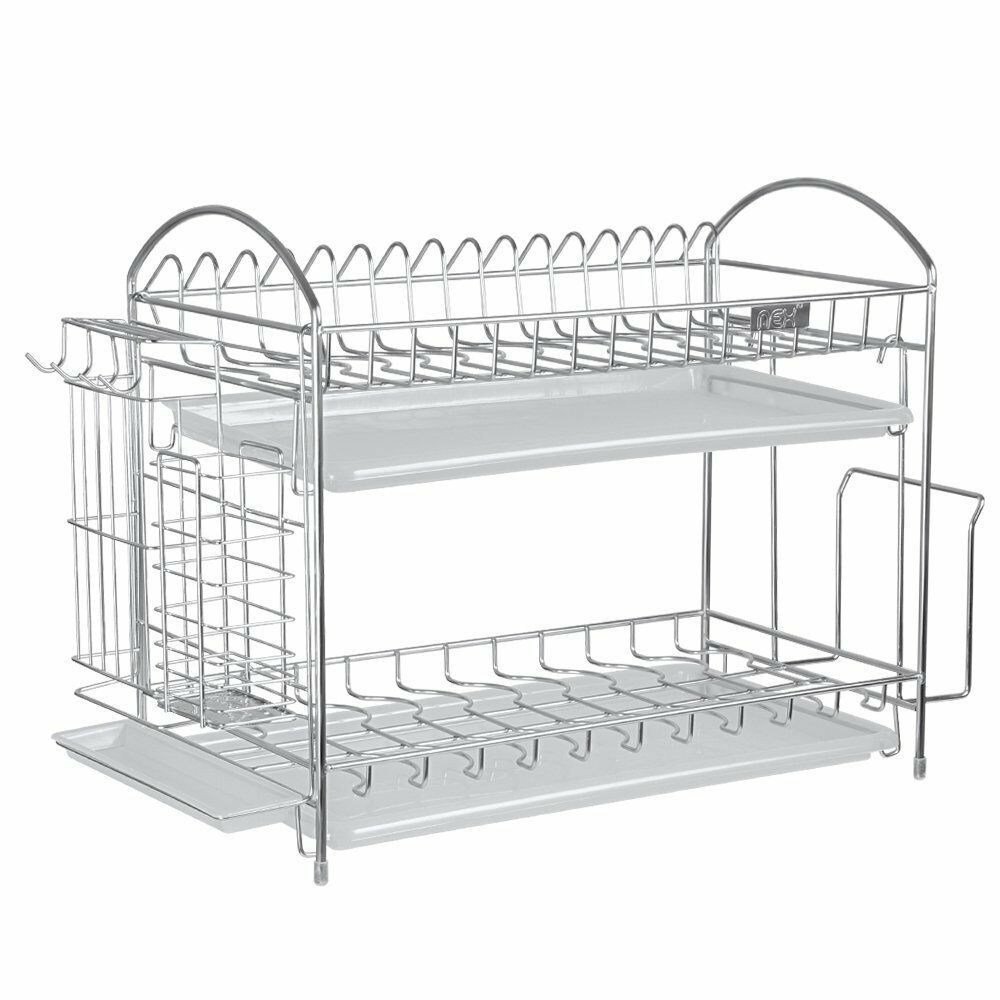 nex 304 stainless steel 2 tier kitchen dish cup rack drying holder drainer dryer ebay. Black Bedroom Furniture Sets. Home Design Ideas