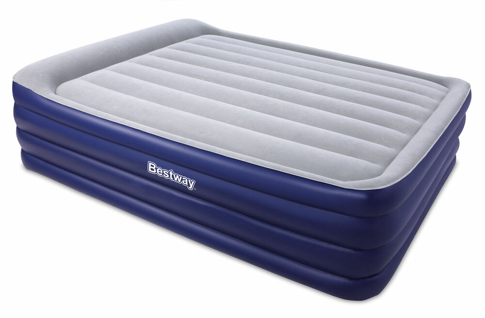 high rise queen inflatable air bed mattress built in pump blow up camping blue ebay. Black Bedroom Furniture Sets. Home Design Ideas