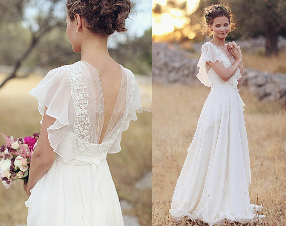 Simple Wedding Dresses: Short Sleeve Simple Beach Wedding Dresses A Line Long
