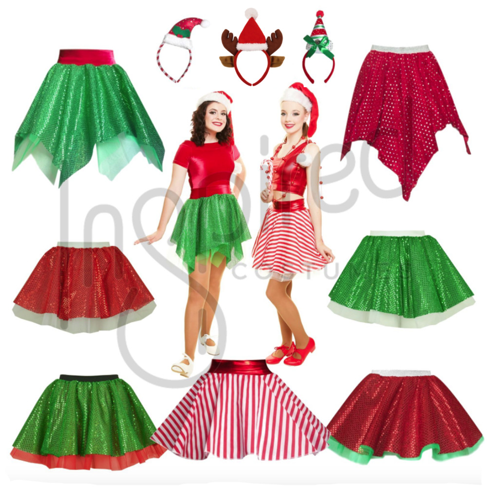 Girls elf santa christmas show skirt costume mrs claus