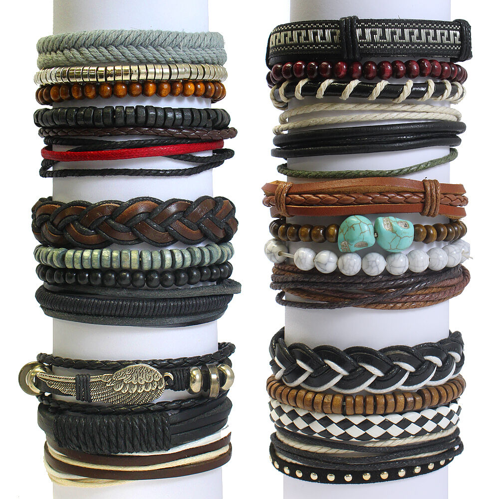 Whirlybird Leather Stacked Bracelets