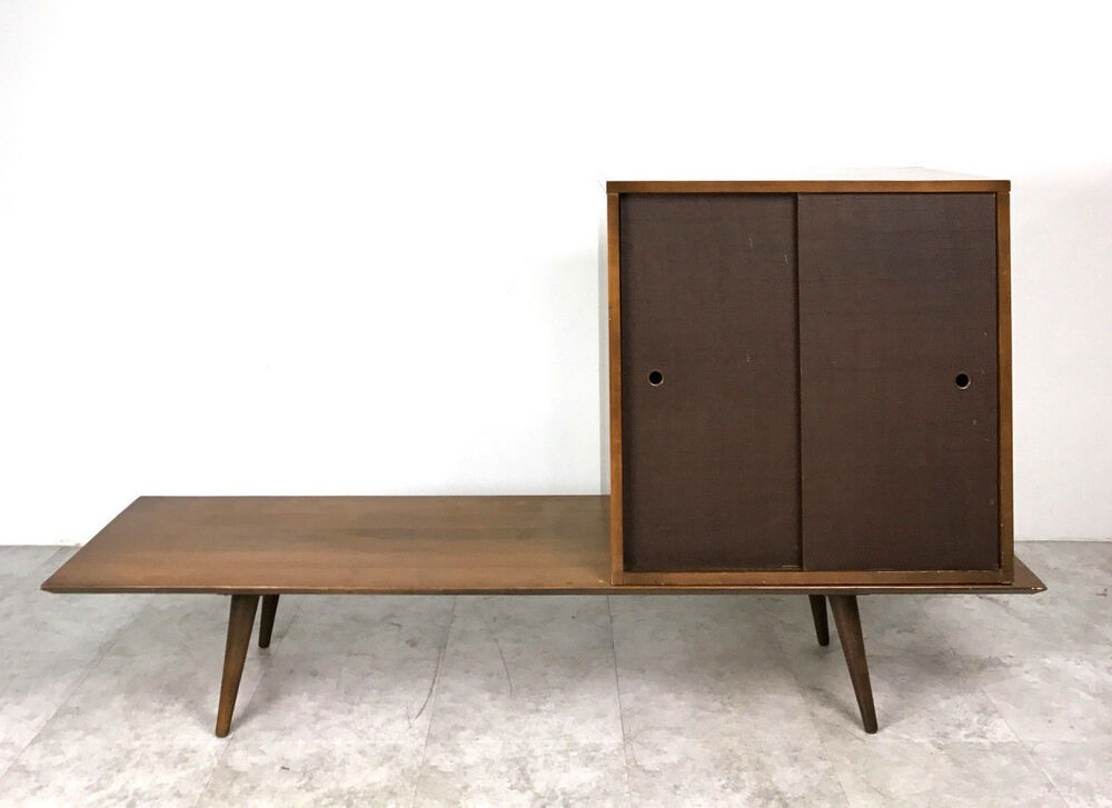 Vintage Paul Mccobb Planner Group Bench Table Cabinet