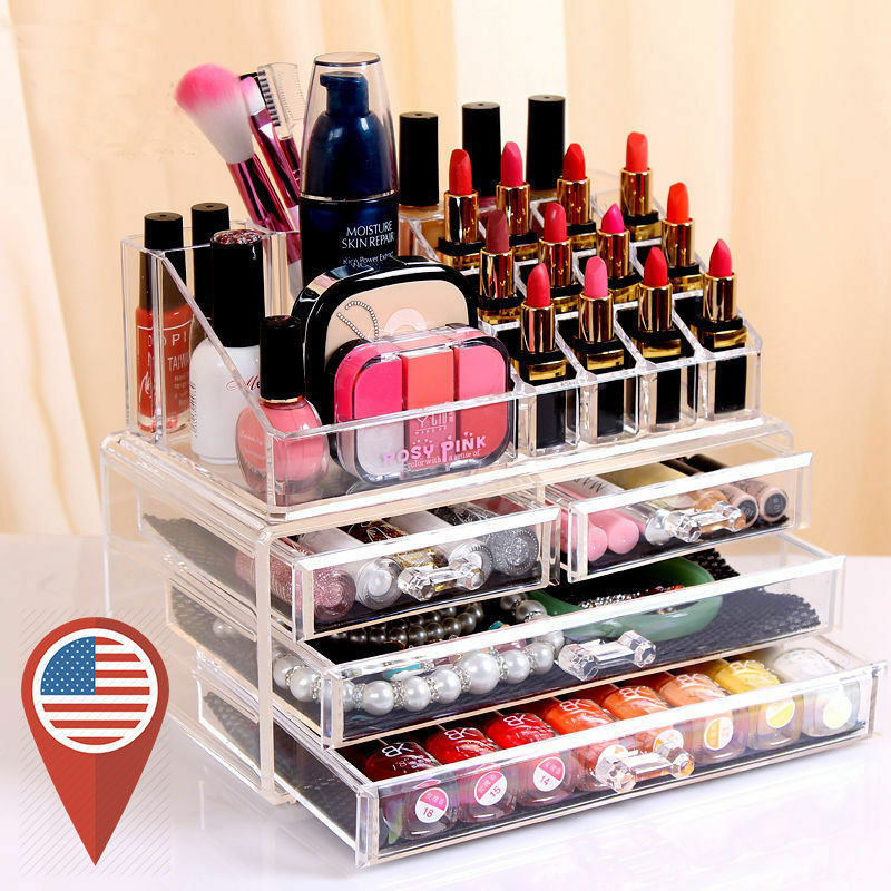 Cosmetic Holder Large 4 Drawers Jewelry Chest Makeup