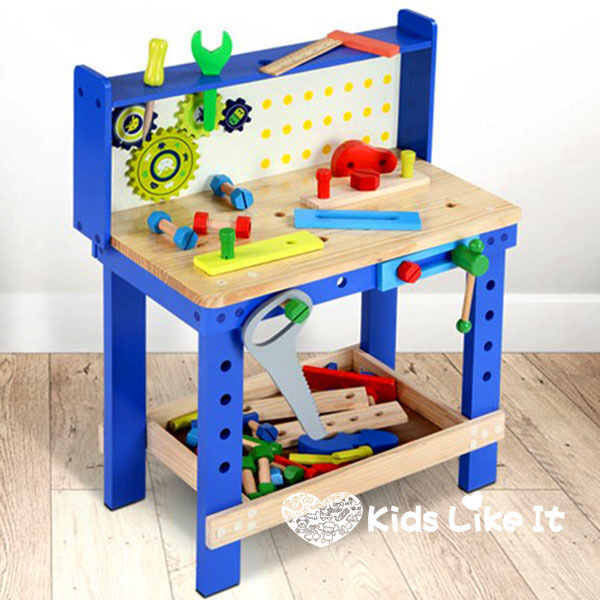 Kids Boys Large Wooden Carpenters Work Table Bench Tool Play Set Workshop New Ebay