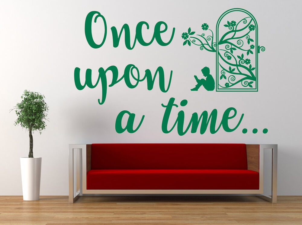 Once upon a time, Wall Art Sticker, Decal. Story Library, book ...