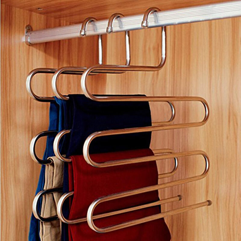 5 Layers Pants Hanger Trousers Towels Hanging Clothes Clothing Rack Space Saver Ebay