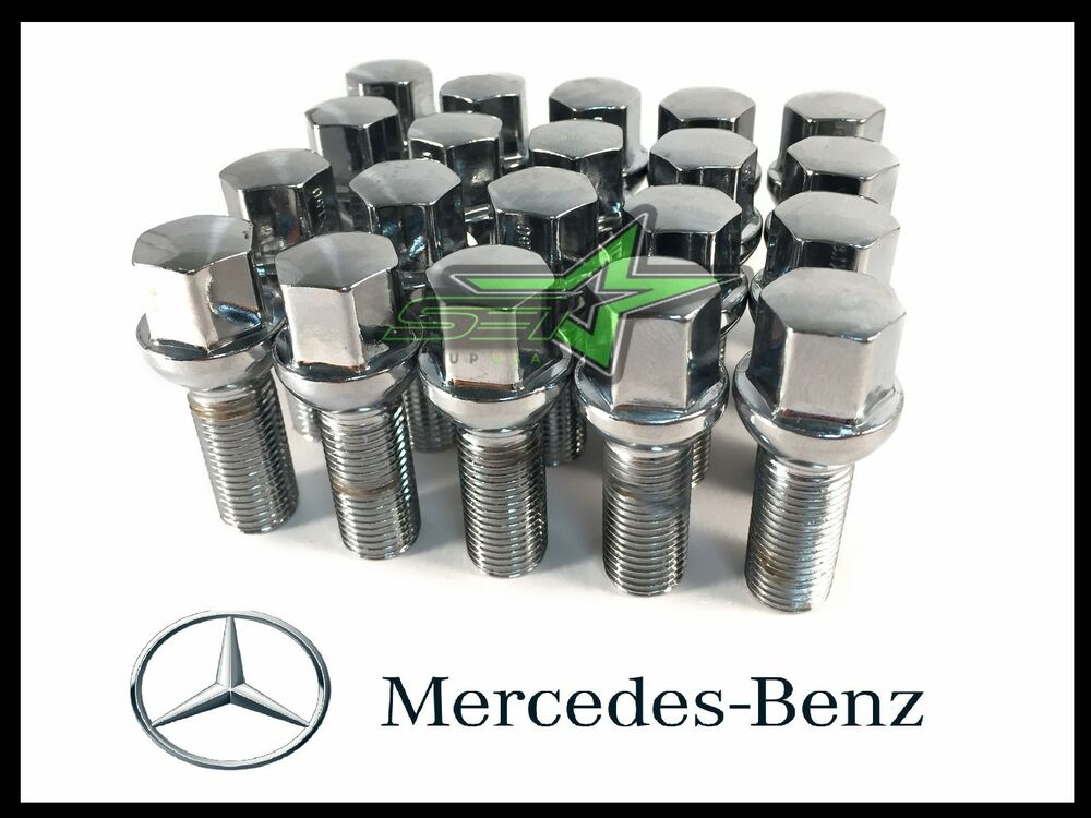 20pc chrome mercedes benz lug bolts 14x1 5 45mm shank for Mercedes benz chrome accessories