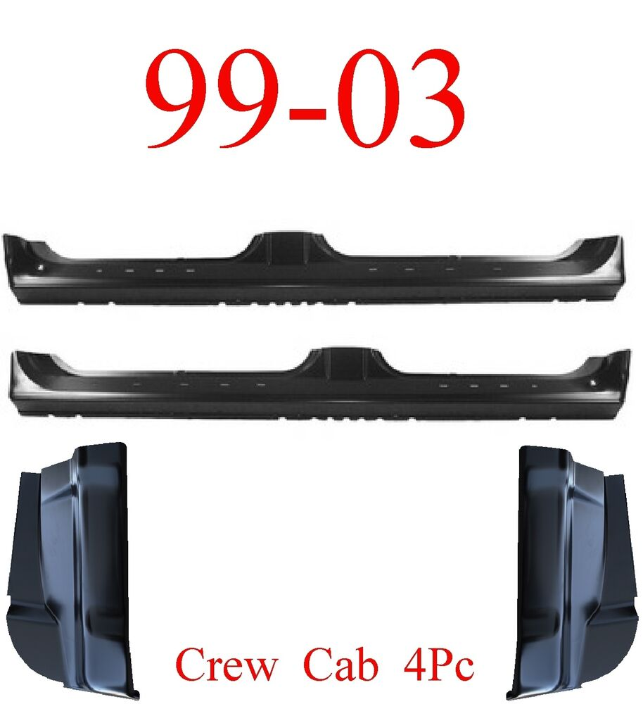 99 03 Ford Crew Cab 4Pc Extended Rocker & Cab Corner, 4