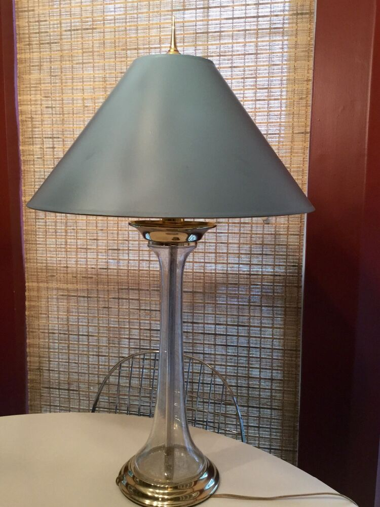 Chapman Brass Seeded Glass Lamp W Shade EBay