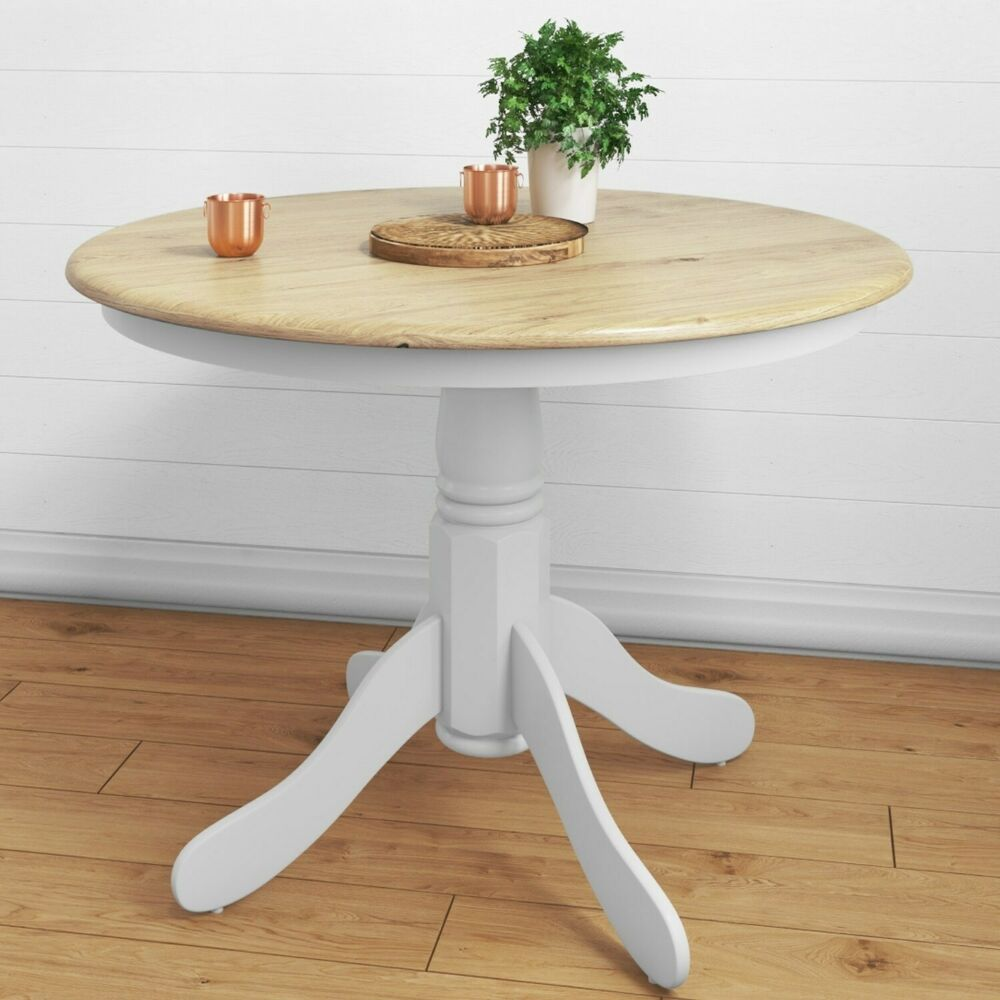 Round Wooden Dining Table In White Natural 4 Seater