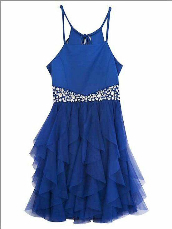 Girls formal party holiday wedding dress blue jewels mesh