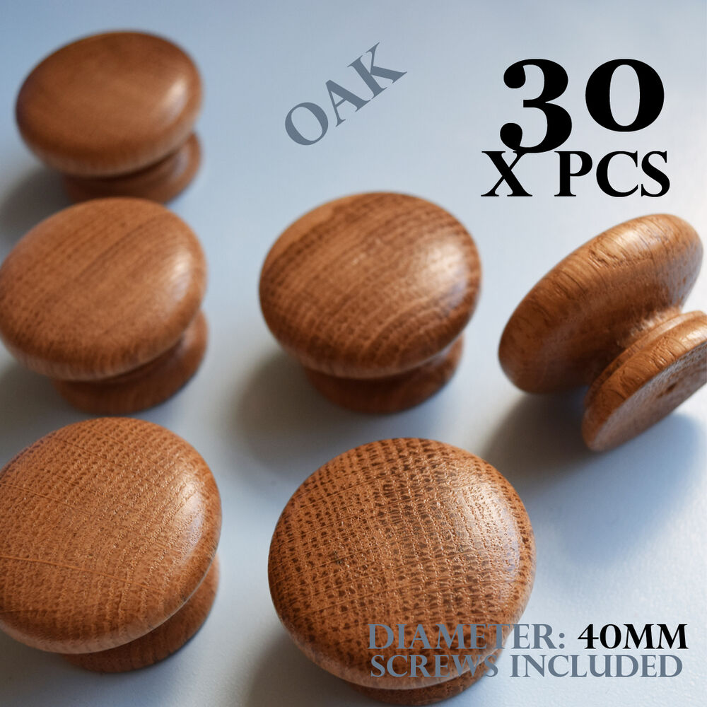 30 X Wooden Oak Kitchen Door Knobs Handles Cabinet Cupboard 40 Mm Diameter