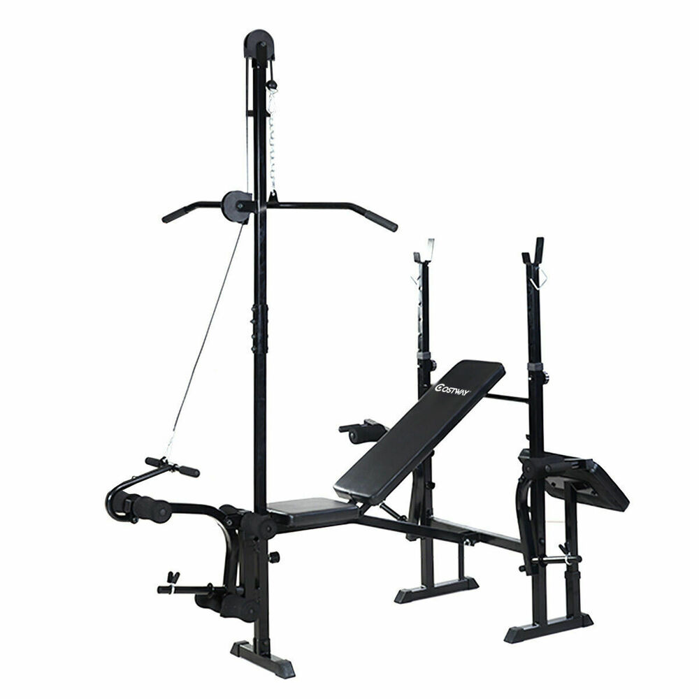 New Sports Exercise Training Fitness Weight Lifting Gym: Adjustable Weight Lifting Flat Bench Rack Set Fitness