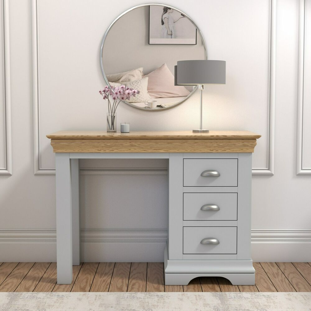 Grey And Oak 3 Drawer Dressing Table Ebay