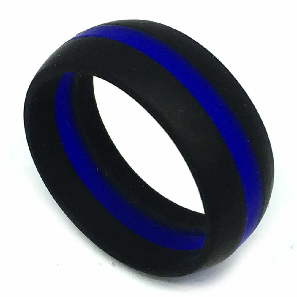 Silicone Wedding Band >> SAFE ACTIVE RINGS 8mm Blue Stripe Police Cops Officer Silicon Wedding Band Ring | eBay