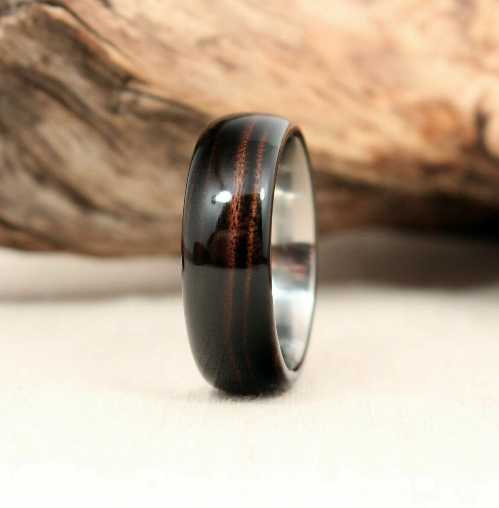 8mm Men S Titanium With Pure Genuine Dark Hawaiian Koa