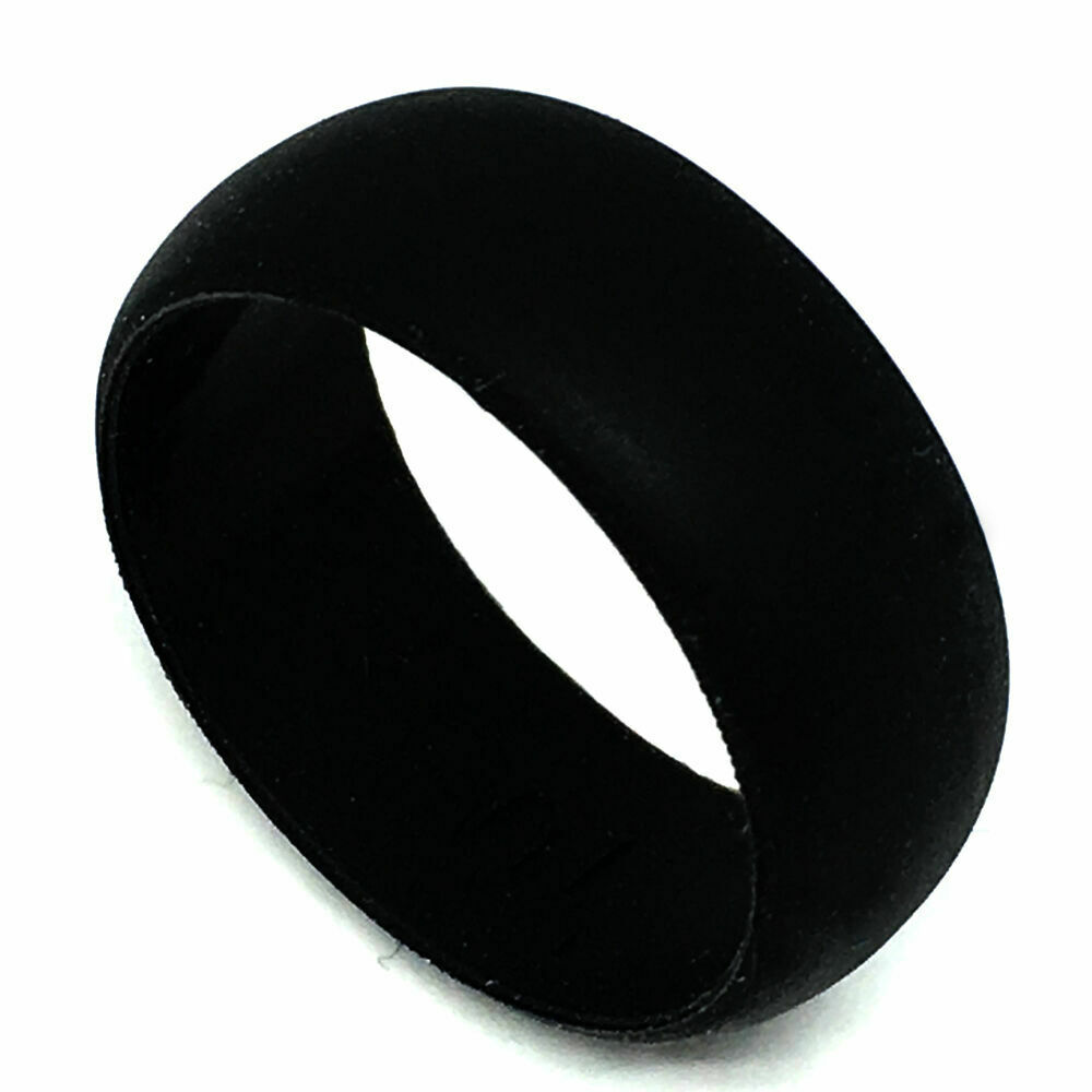 Silicone Wedding Band >> 8mm Black Men Medical Flexible Hypoallergenic Rubber Silicone Wedding Band Ring | eBay