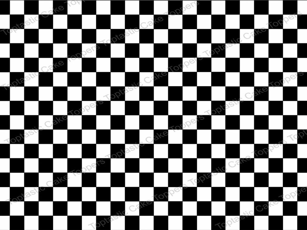 Black White Checkered Flag Background Check Pattern Edible Icing