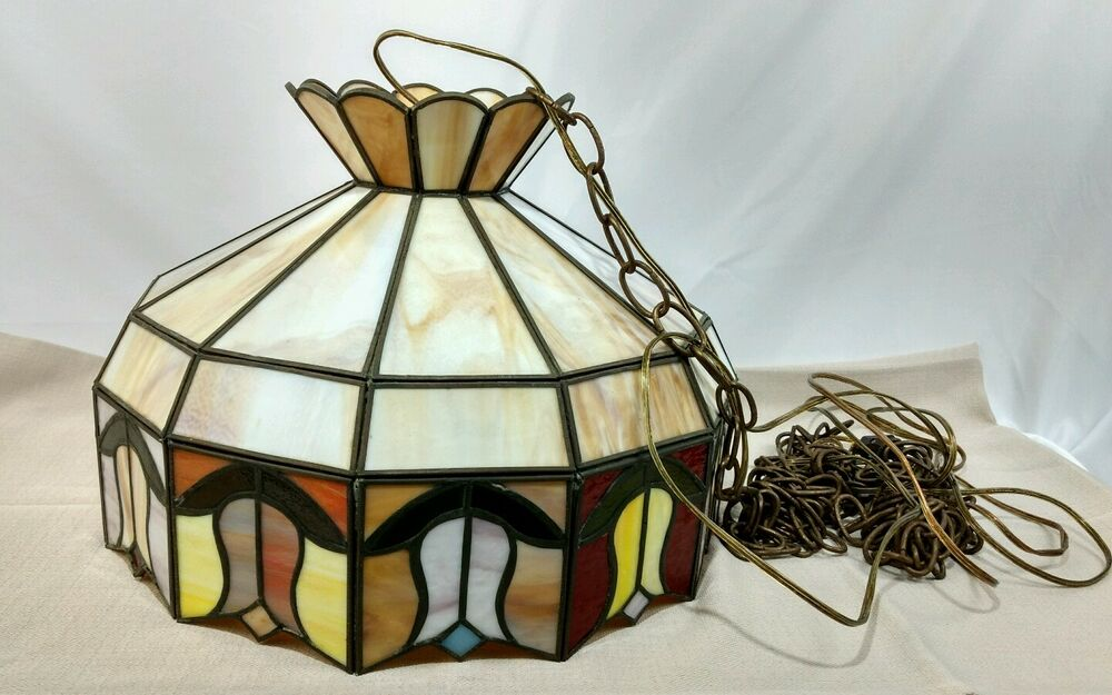 Vintage Tiffany Style Stained Glass Hanging Lamp Made in ...