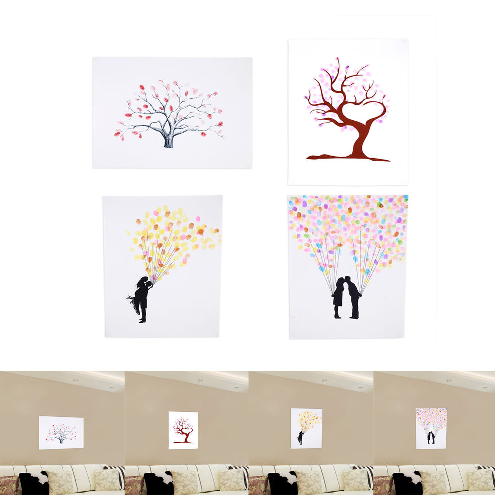 Guest Book Printing: Fingerprint Tree Guest Book Sign-in Wedding Party