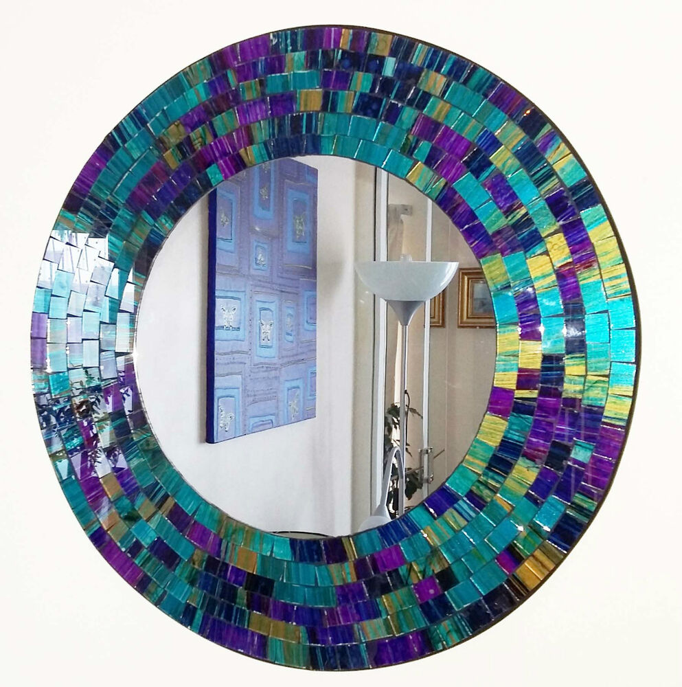 Round purple teal mosaic wall mirror 40cm hand made in for Mosaic mirror