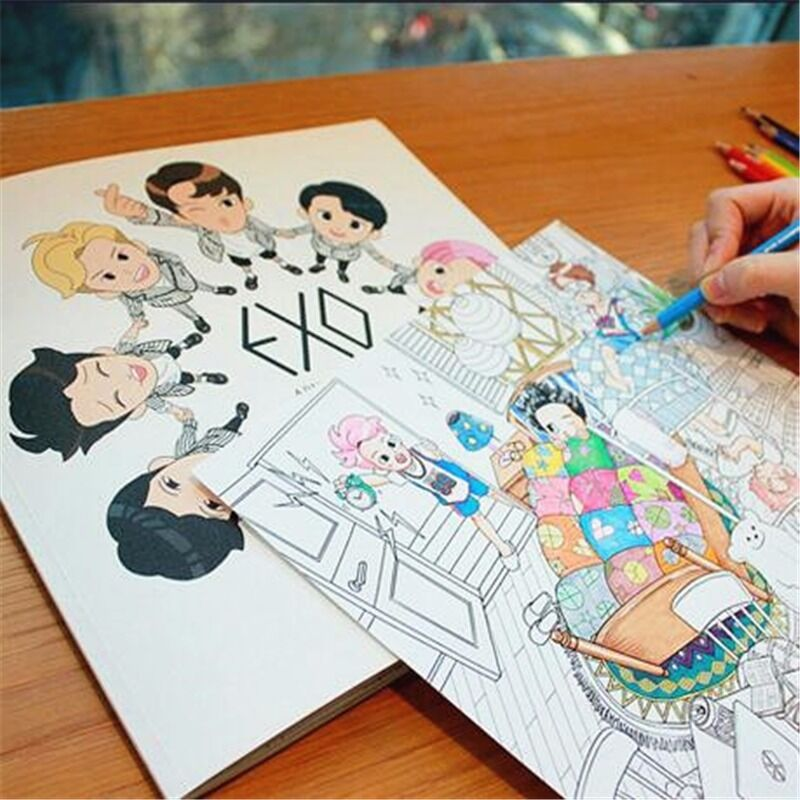 EXO Coloring Book A DAY IN KPOP EXOPLANET Daily Life