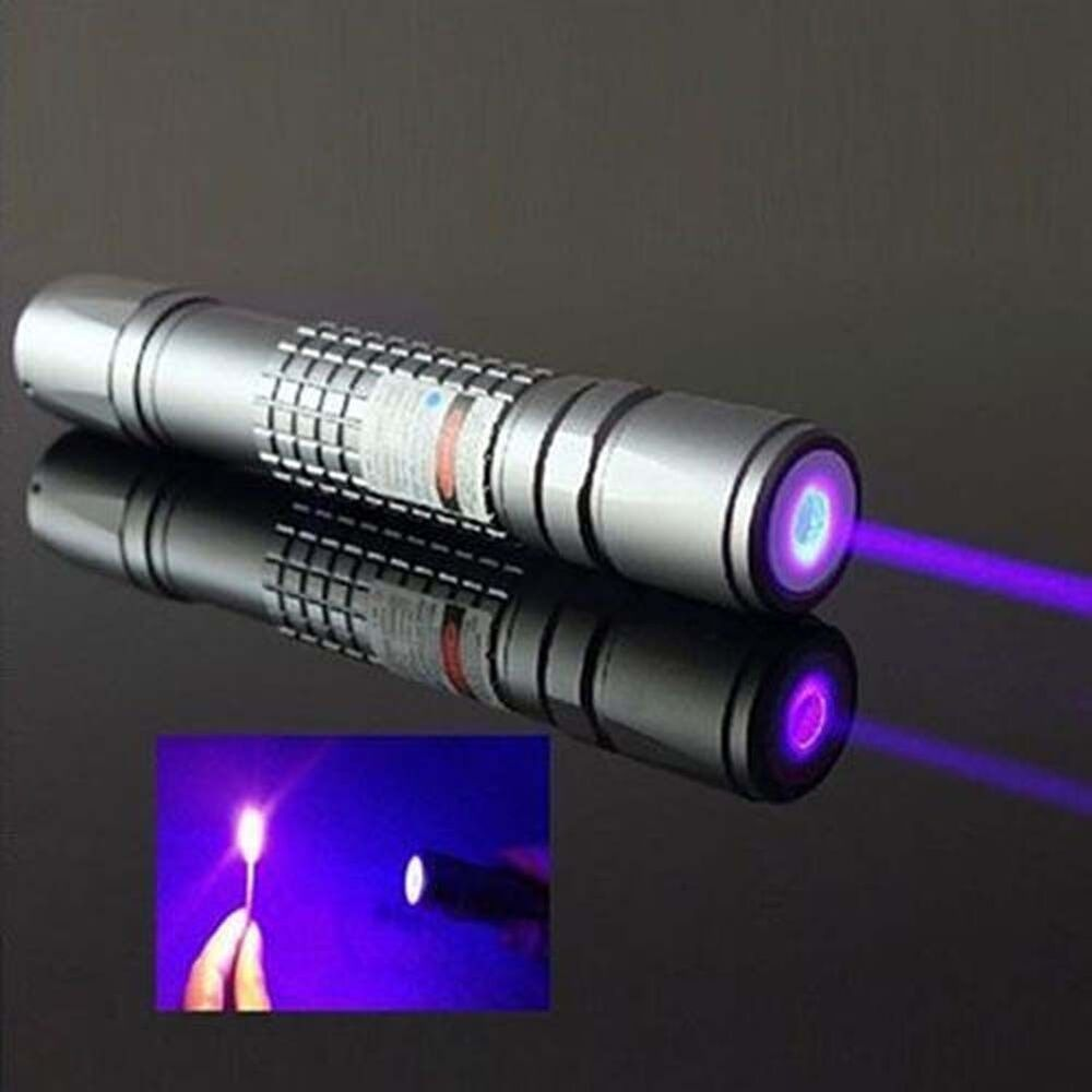 Purple Laser Pointer Burning Light Beam Pen Battery