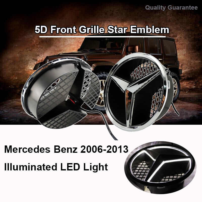 Illuminated 2006 2013 car led grille blled logo emblem for Mercedes benz symbol light