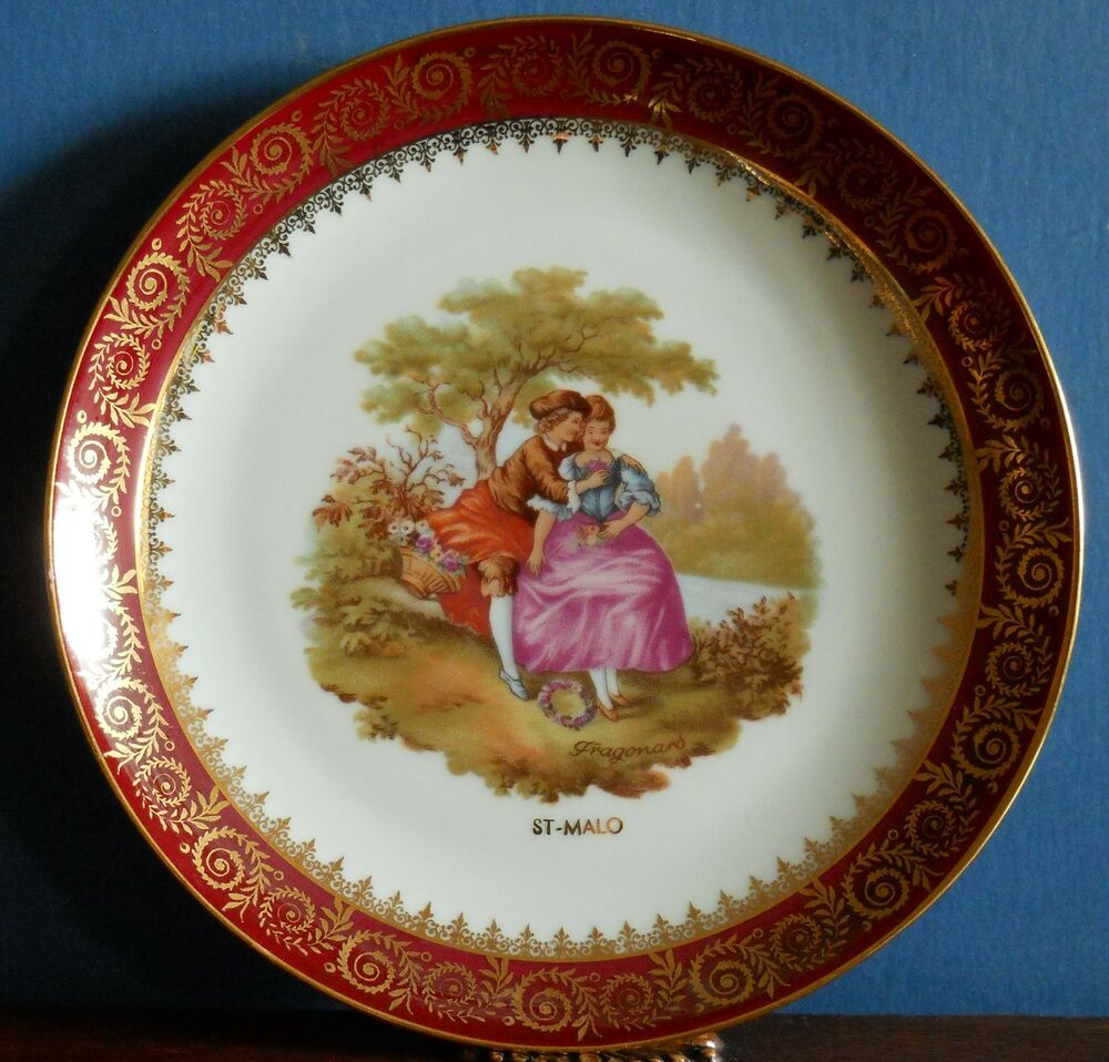 A 13 cm limoges fragonard lovers plate from st malo by porcelaine artistique - Estampille porcelaine limoges ...