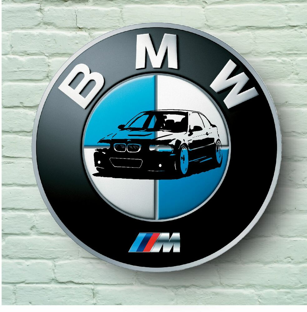 bmw m logo 2ft large garage sign wall plaque car classic sign m3 e36 m5 m6 m1 ebay. Black Bedroom Furniture Sets. Home Design Ideas