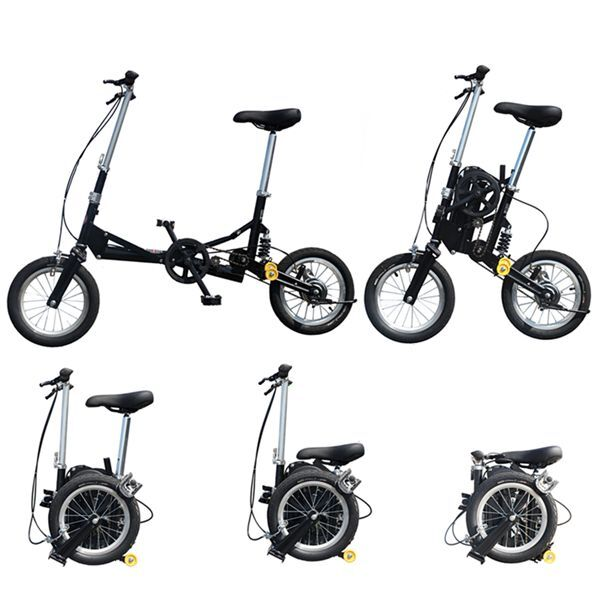 12 small size single speed folding bicycle bike mini. Black Bedroom Furniture Sets. Home Design Ideas