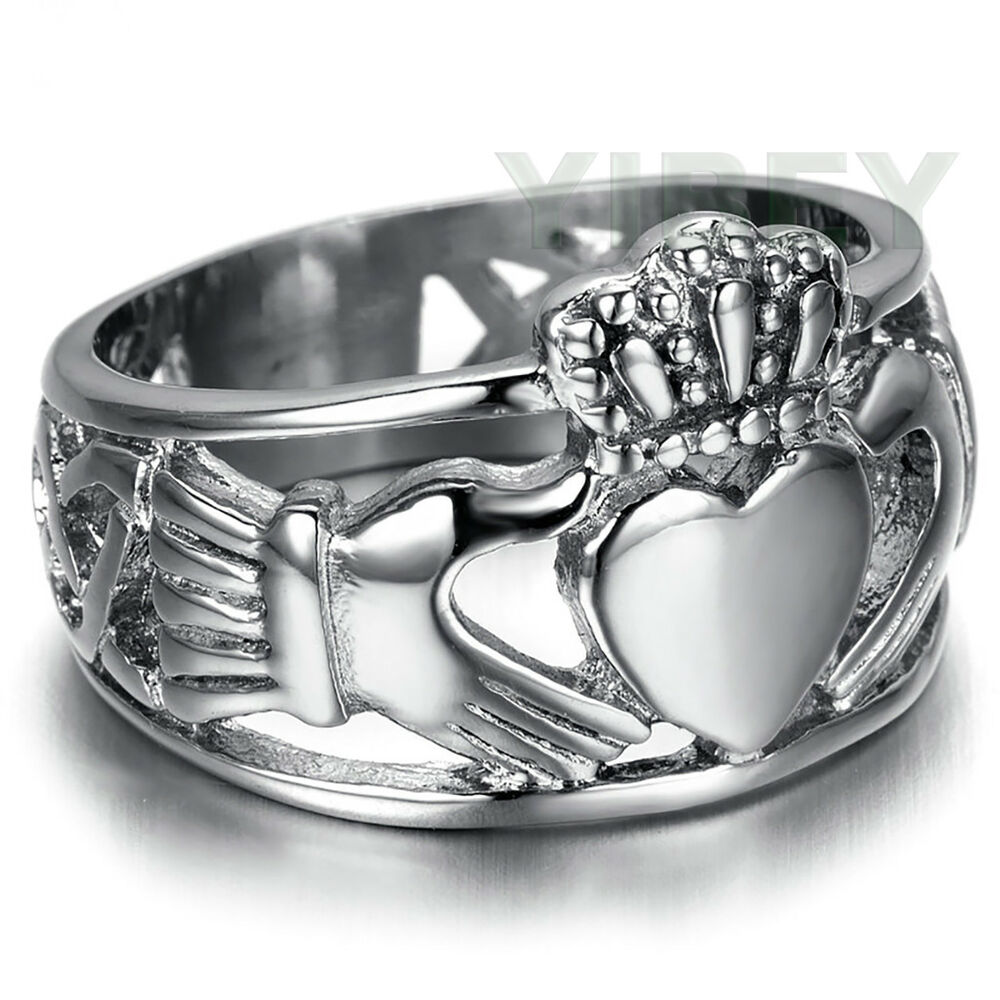 men 39 s jewelry stainless steel ring claddagh heart crown. Black Bedroom Furniture Sets. Home Design Ideas