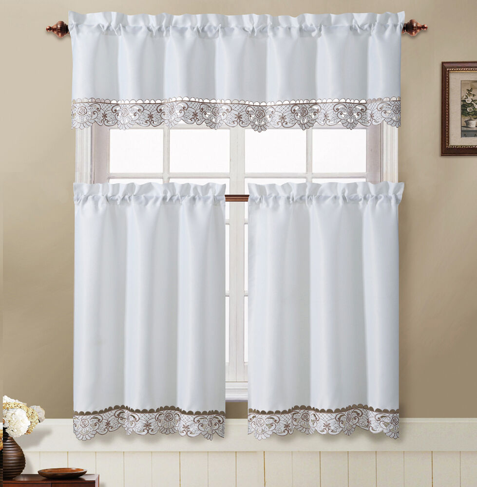 Julian White Taupe Embroidered Kitchen Curtain Tiers Valance Set Ebay