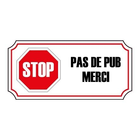 stop pas de pub publicit boite aux lettres sticker autocollant logo 3 4 cm ebay. Black Bedroom Furniture Sets. Home Design Ideas