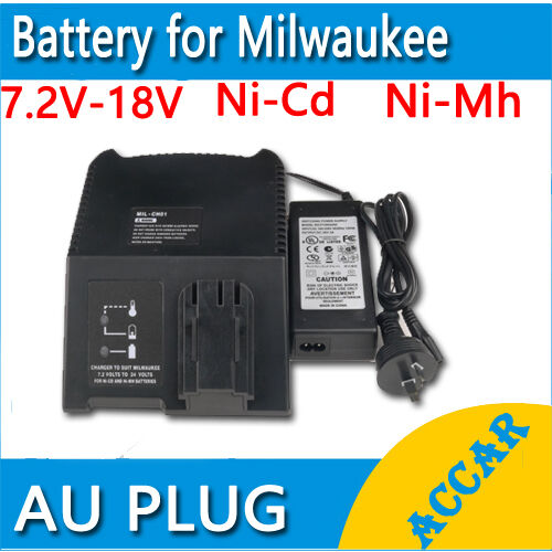battery charger for milwaukee aeg atlas copco 7 2v 18v 12v 14 4v ni mh ni cd au ebay. Black Bedroom Furniture Sets. Home Design Ideas