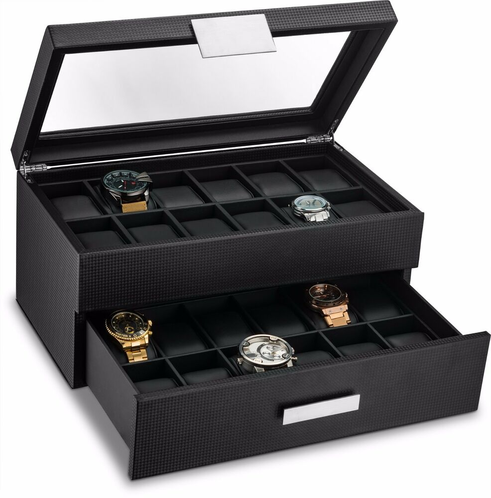 mens watch box large 24 slot box for carbon fiber design 12332
