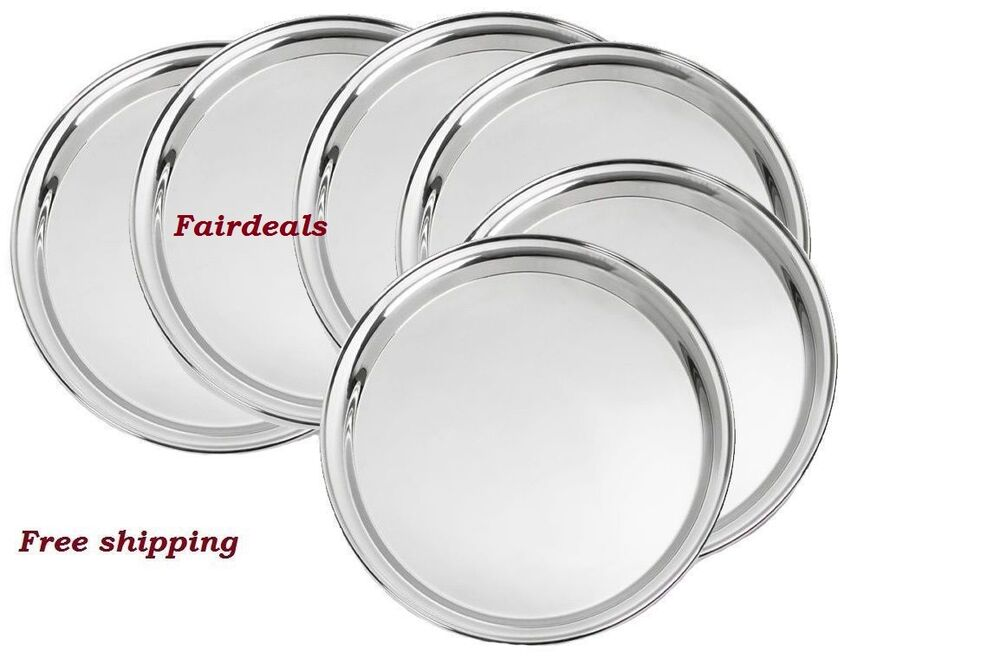 stainless steel dinner plate set set of 6 pc with free shipping lowest price ebay. Black Bedroom Furniture Sets. Home Design Ideas