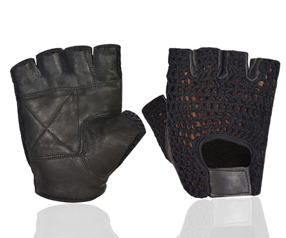 Black Leather Weight Lifting Workout Gloves: MESH LEATHER PADDED FINGERLESS WEIGHT LIFTING EXERCISE GYM