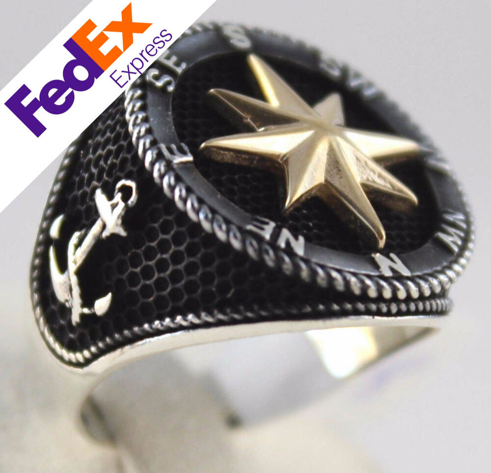 Compass Silver Ring