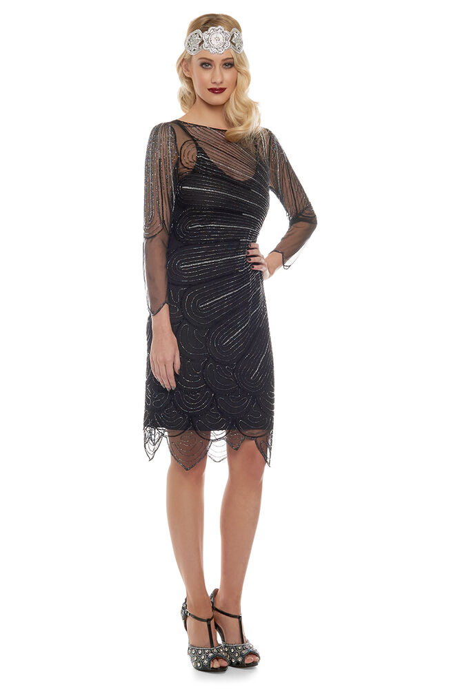 catherine black silver flapper dress with sleeves ebay