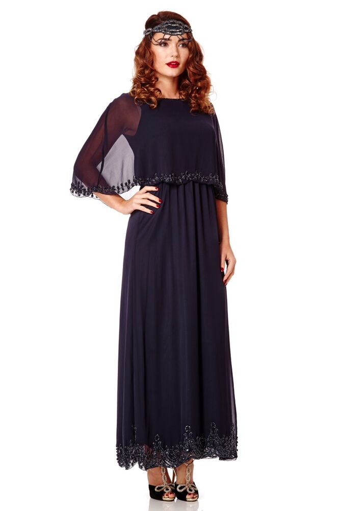 Navy Blue Carolyn Prom Maxi Cape Dress Vintage Inspired