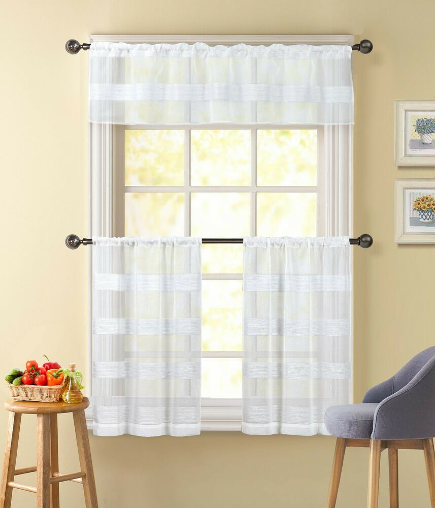 3 piece sheer window curtain set white textured stripe for 3 window curtain design