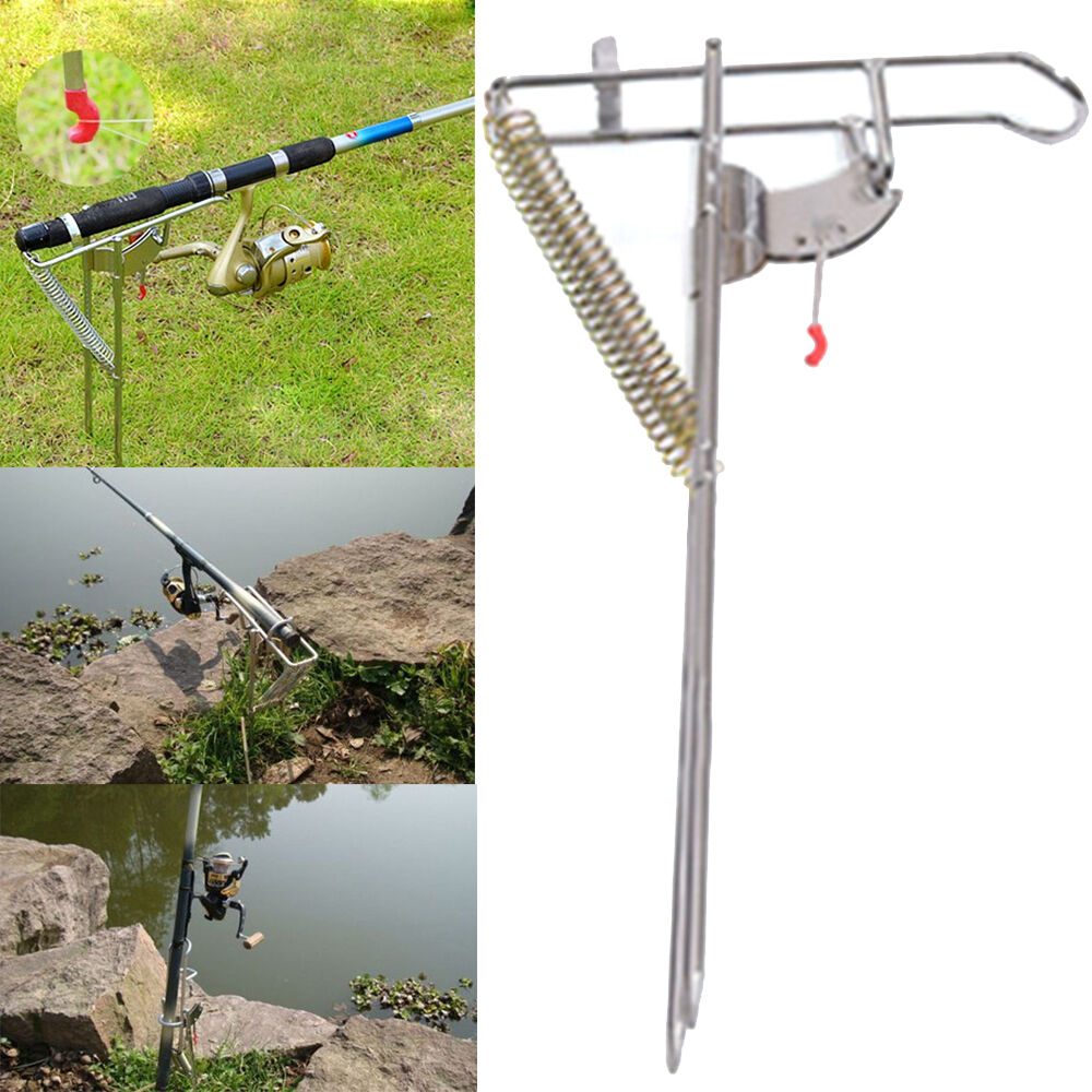 Adjustable stainless double springs fishing rod holder for Fishing rod stand