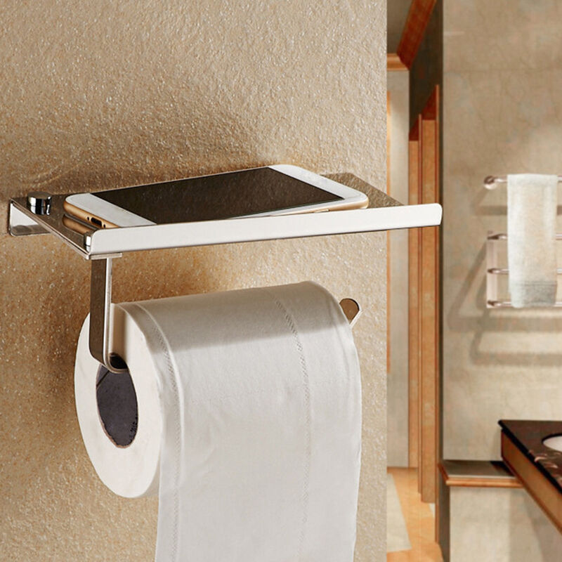 wall mounted bathroom toilet paper holder rack tissue roll stand stainless steel ebay. Black Bedroom Furniture Sets. Home Design Ideas