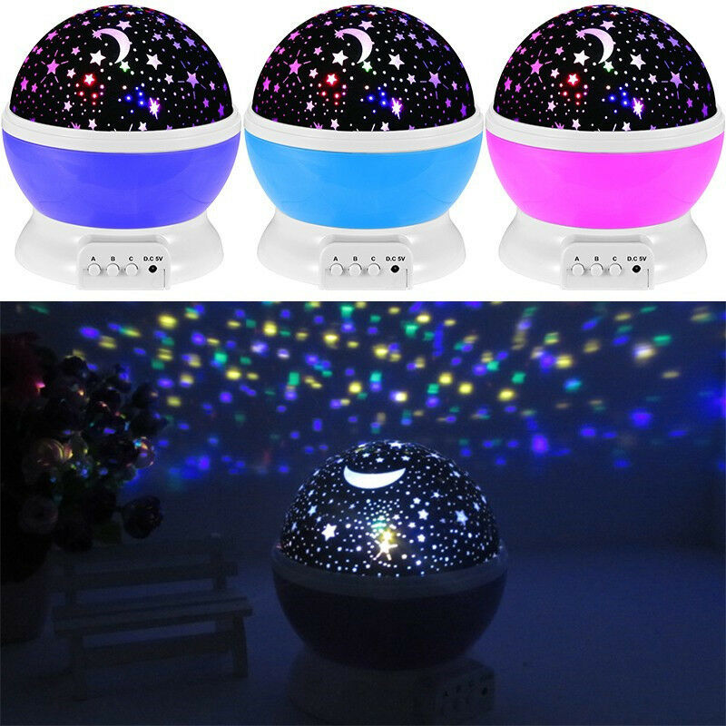 Baby Night Light Lamp Moon Star Cosmos Sky Projector 360