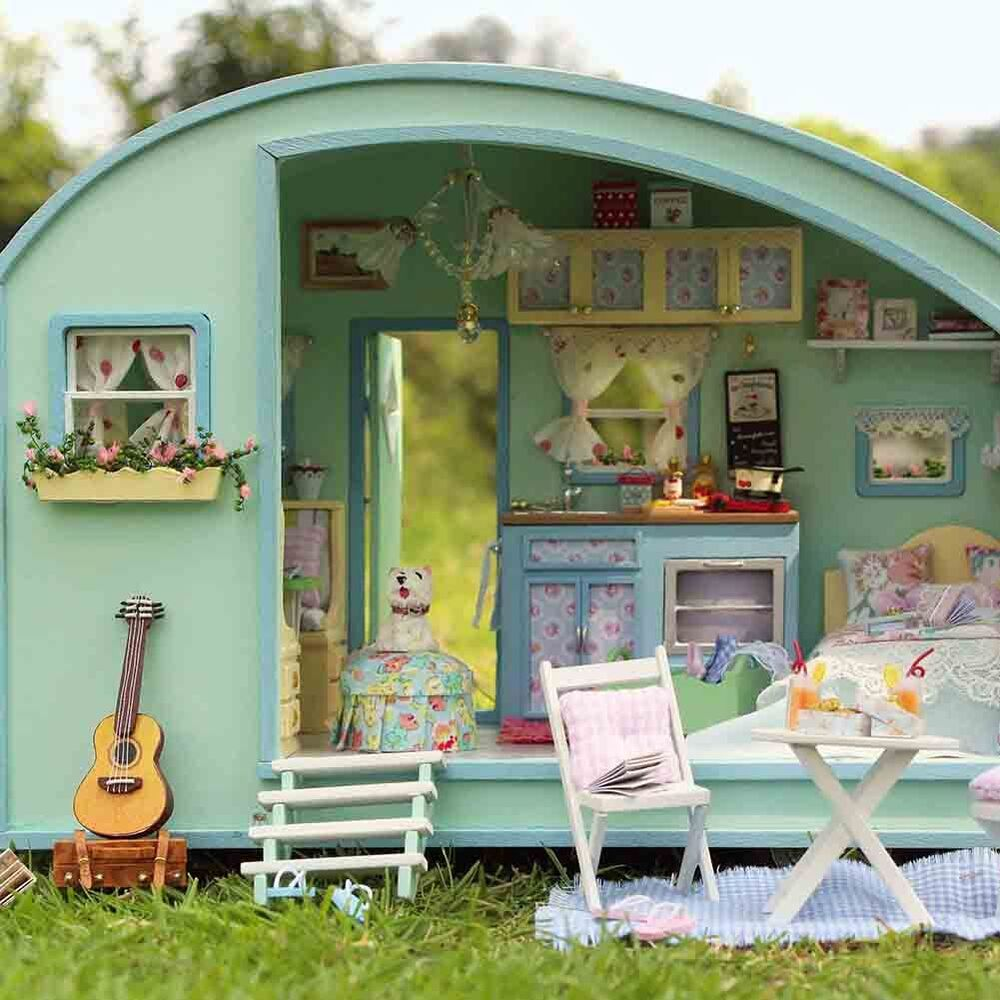 New Doll House Toy Miniature Wooden Doll House Loft With: DIY Wooden Dolls House Miniature Kit Caravan Doll House