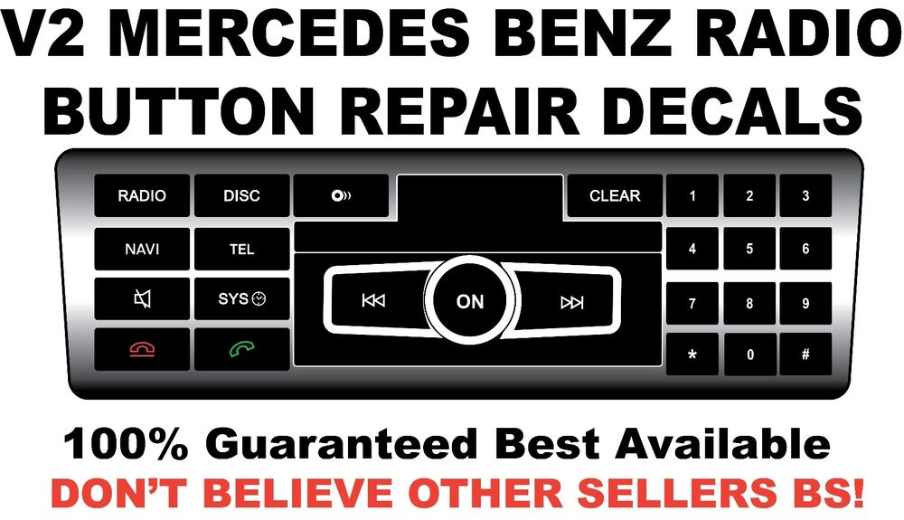 v2 black radio stereo button repair decals stickers repair