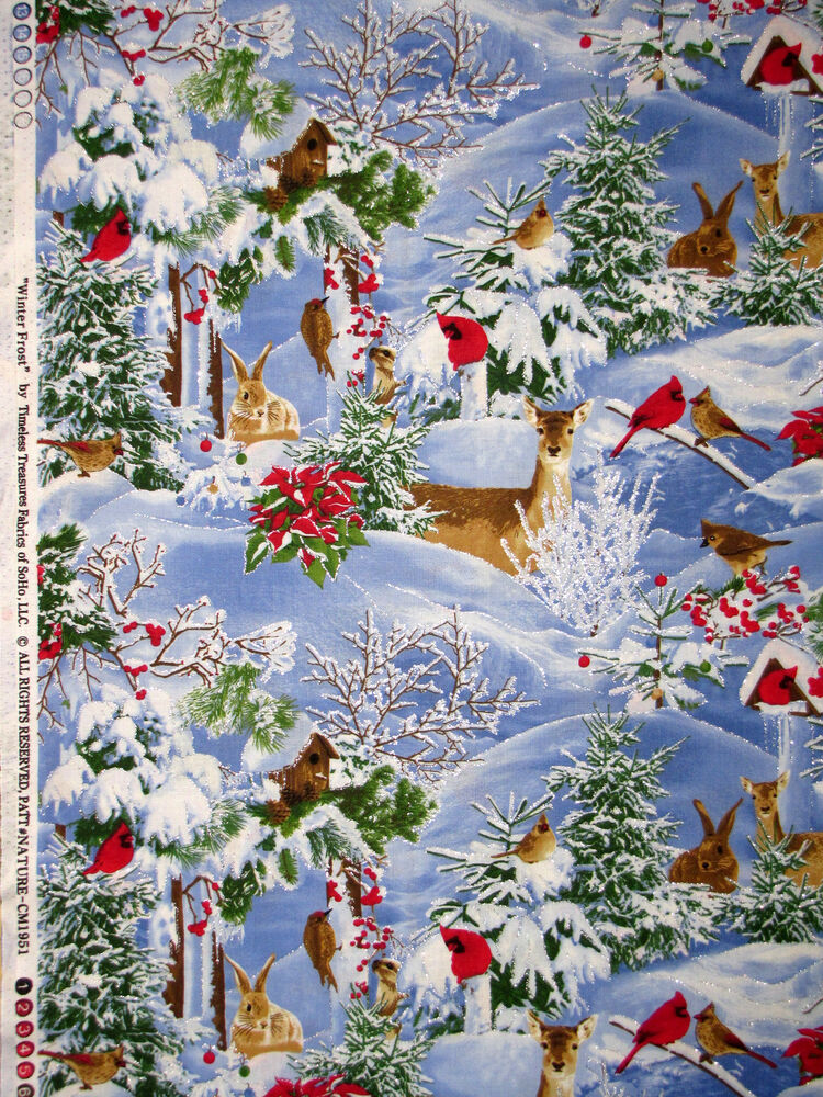 Christmas winter frost animal fabric 100 cotton by the for Purchase fabric by the yard