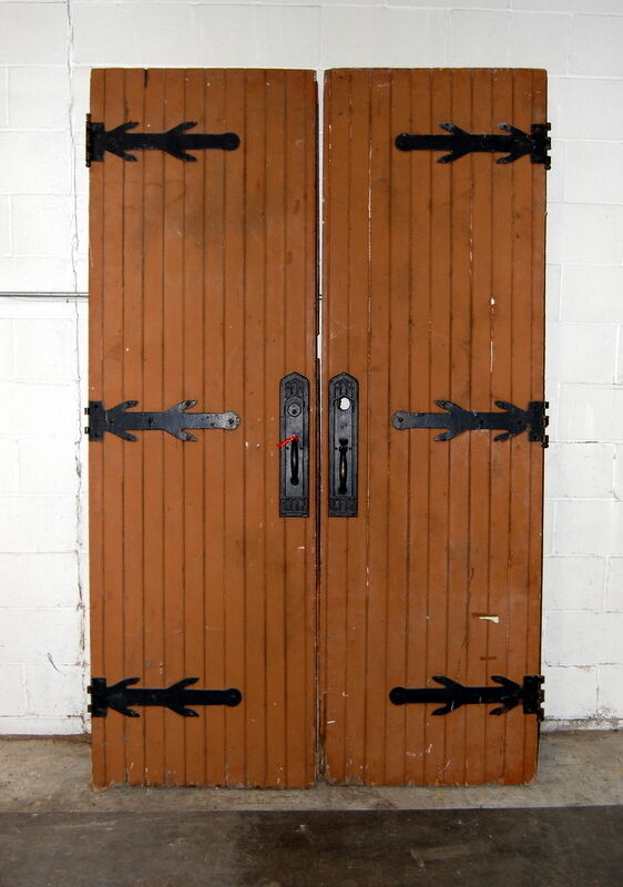 Antique 1910s gothic oak double entry doors architectural for Old wood doors salvaged
