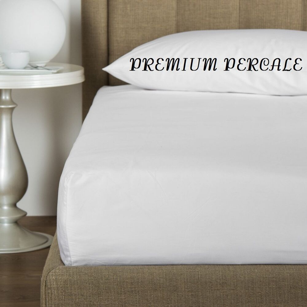 1 NEW WHITE FULL 54X80X12 PERCALE DEEP POCKET FITTED HOTEL